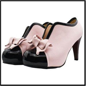 NWT Pink & CapToe Bow Accent Bootie, Women's 11
